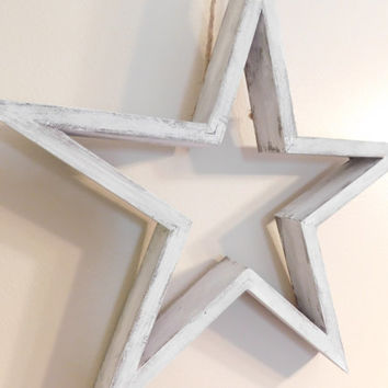 White Distressed Star - Wall Hanging - Home Decor - Home & Living - Rustic Home