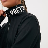 Black PrettyLittleThing Slogan Zip Front Sport Sweater