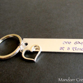 One Day At A Time, Hand Stamped Aluminum Keychain, Purple Juniper Font, Heart Charm, Recovery Gift, Self Harm Awareness, Mental Health