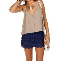 Taupe Double Strap Crop Top
