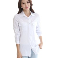 Women Clothing Elegant Embroidery White Blouses Long Sleeve Shirt Office Work Wear Casual Slim Tops 2017