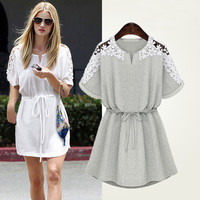 Floral Crochet Lace Cut-Out Sleeve with Waist Tie Mini Dress