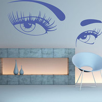 Fashion Eyes Decal, Girl Face Decal, Eyes and Brows Decal, Beauty Salon Decor, Spa Salon Decal, Trending Beauty Salon Decal, nm085