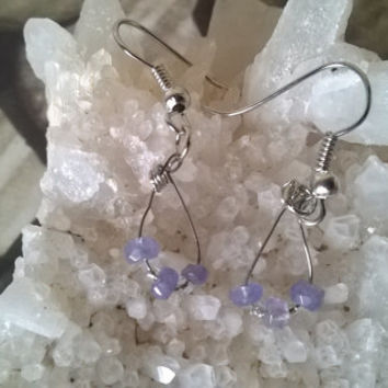 Blue Tanzanite gemstone earrings artisan Aries Pisces Birthstone natural stone dangle bead earrings crystal jewelry February March April