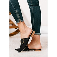 What's Your Point Buckled Mule Slides (Black)