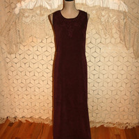 Vintage Suede Dress Sleeveless Maxi Dress Plum Purple Dress Shift Embroidered Faux Vegan Ultra Suede Size 12 Dress Large Womens Clothing