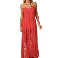 Sale-coral Smocked Lace Maxi Dress