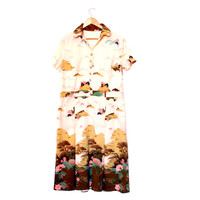 Short Sleeve Dress Light Japanese Theme Dress With Cherry Blossoms, Vintage Dress With Nature Pattern, Front Buttons & Collar