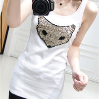 White Sequined Fox Tank Top