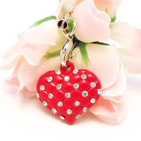Red Heart With Clear Stones Cell Phone Charm Strap Rhine Stone