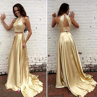 2017 New Arrival Gold Two-piece High Becded Neck Off The Shoulder Satin Mermaid Red Carpet Gown Celebrity Dress  Prom Party Gown