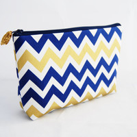 Indigo, navy blue and gold chevron cosmetic case, makeup bag, travel toiletry bag