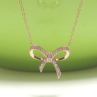 """ADORABLE BOW Necklace In Rose Gold Over Sterling Silver-16""""+2 Extender"""