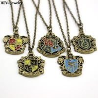 Movie Jewelry Hogwarts Gryffindor Hufflepuff Free Shipping Slytherin Ravenclaw School Hot Sale Crest Necklace & Pendants Jewelry