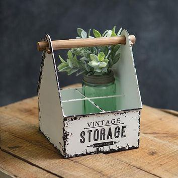 Vintage Storage Divided Metal Caddy