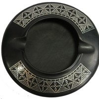 Mothers Day New Gift Idea - Black Ashtray with Real Silver Inlay Work for Indoor and outdoor - Vintage Look Metal Smoking Smoke Ash Tray with 2 Cigarette Slots - Retro Round Ashtrays - New Gift Idea from SouvNear