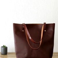 Large Leather Tote Bag, Brown Leather Shoulder Bag, Handmade Leather Bag, Leather Laptop Bag, Carryall, Leather Market Bag, Shopping Bag