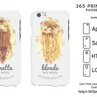 Floral Brunette Blonde Best Friend Matching Phone Cases - 365 Printing Inc