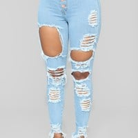 Take Back Home Girl Skinny Jeans - Light Blue Wash