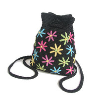 90s Flower Power Mini Backpack - Small Backpack - Woven Bucket Bag - Woven Backpack Sack - 90s Grunge Cyber Y2K Goth - Purse Hand Bag Cute