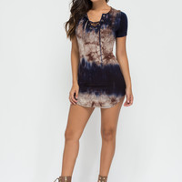 Wave To Go Tie-Dye Lace-Up Dress