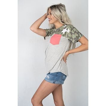 Camo and Stars Pink Front Pocket Top