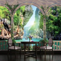 Wallpaper removable sticky mural sea arches