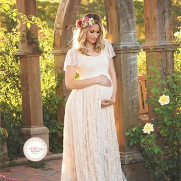 Lace Short Sleeve Pregnancy Clothes Maternity Maxi Dresses