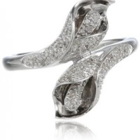 Sterling Silver Call Lily Flower Diamond Ring (1/7 cttw, I-J Color, I2-3 Clarity)