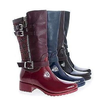 Carrie63K By Link, Children Girls Knee High Tweed & Buckle Lug Sole Rain boots