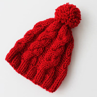 Christmas Red Slouchy Beanie Slouch Beanie Red Beanie Hat Knitted Hat , Chunky Slouchy Hat
