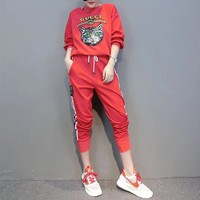 """Gucci"" Women Casual Fashion Embroidery Sequin Cat Letter Webbing Long Sleeve Trousers Set Two-Piece Sportswear"