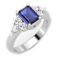 European Engagement Ring - Emerald Cut Blue Sapphire and Round Diamond Ring in White Gold - ER252WG