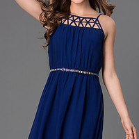 Short Spaghetti Strap Dress with Belted Waist