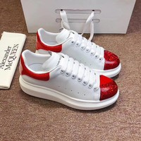Alexander Mcqueen 2020 Hot Sale Woman lace up low top boots Leisure Sport Shoes Sneakers top quality white red