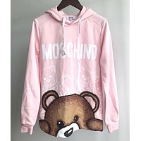 MOSCHINO Women  Fashion Print Round Neck Pullover Sweater