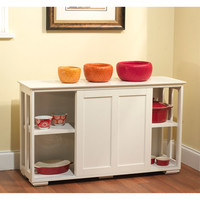 Walmart: Sliding Wood Doors Stackable Storage Cabinet, Antique White