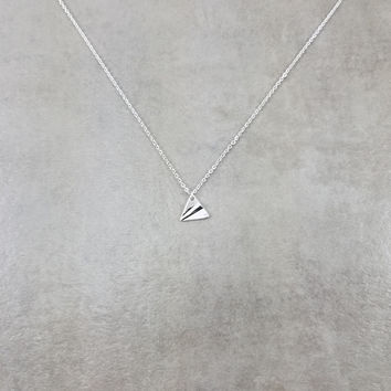 Paper Airplane Silver Necklace