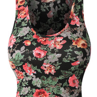 LE3NO Womens Fitted Floral Print Sleeveless Crop Top with Stretch