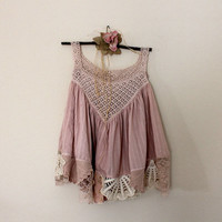Vintage Lace Top | Upcycled Women's Clothing | Altered Clothes | Romantic Shabby Gypsy Shirt