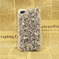 3D Flower +Lace  iPhone 4 Case (Gray)
