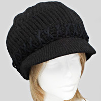 Black Knitted Winter Beanie Hat