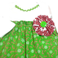 Baby Christmas Dress ,3-6 Month Peppermint Candy Cane baby Dress,Green Christmas  Baby Dress, Holiday Baby Clothes, Bodysuit Dress