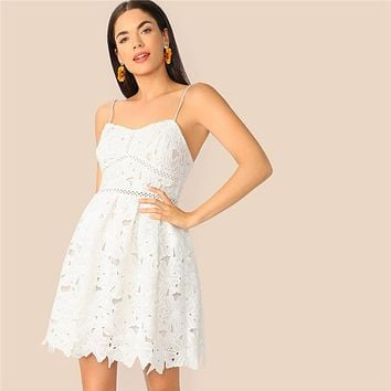 Romantic White Fit and Flare Guipure Lace High Waist Cami Dress Women Elegant Fit And Flare Solid Party Dresses