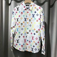 LV Louis Vuitton Spring Summer Fashion Print Long Sleeve Lapel Shirt Top White(Multicolor Letter)