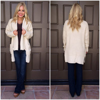 Oatmeal Thick Knit Cardigan Sweater