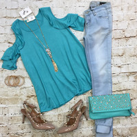 Morning Light Ruffle Cold Shoulder Top: Mint