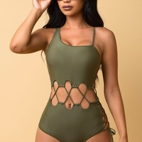 Bottom Bay One Piece Swimsuit Olive