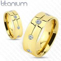 6mm Gold IP with Clear CZ Titanium Ring Wedding Band Women's Ring