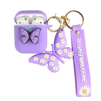 Heniu for Airpod Case, 3D Butterfly Silicone Airpods Case Cute Cover with Keychain Compatible for Apple Airpods 2&1 Charging Case-Purple